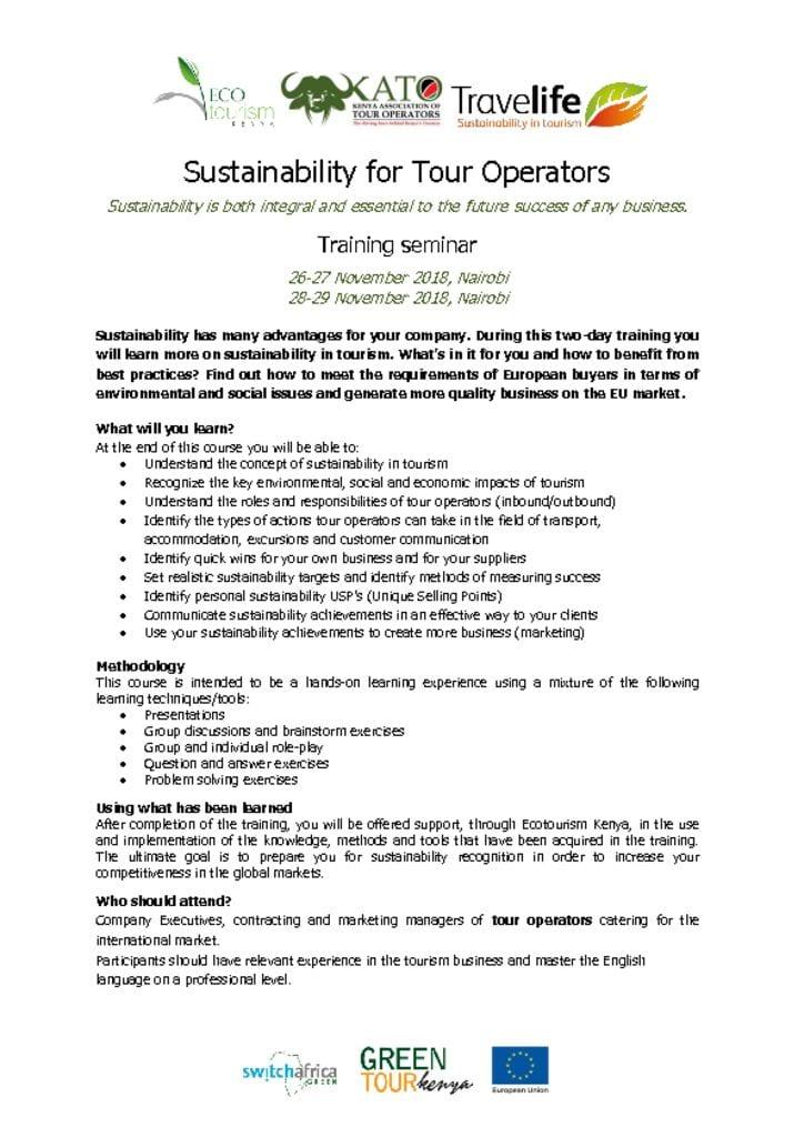 Green Tour Kenya Sustainability Training for Tour Operators