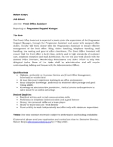 thumbnail of Advert for Front Office Assistant Position