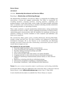 thumbnail of Membership Recruitment and Services Officer Job advert