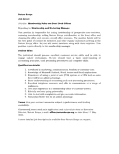 thumbnail of Membership Sales and front desk officer advert