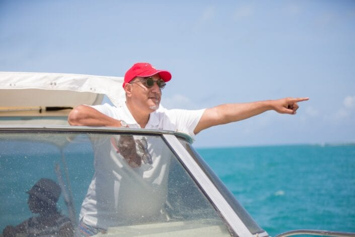 Cabinet Secretary, Tourism and Wildlife Hon.Najib Balala spotting a humpback whale in Watamu, Kilifi county.